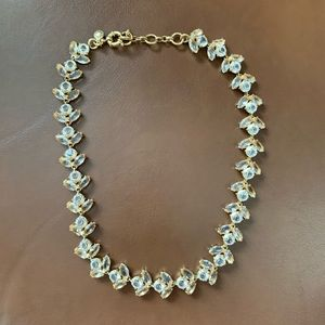 J. Crew Gold Statement Necklace Clear Rhinestones
